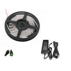 Kit completo Tira Led de 5metros 300LEDs 24W Luz Fria 6000ºK, Pack en Blister con Transformador, IP20 No Impermeable