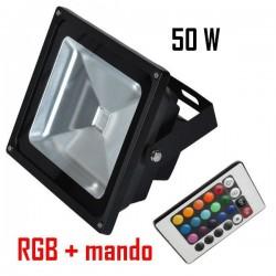Foco Proyector Led COB 50w RGB Clásico con mando a distancia infrarojos, impermeable IP65, Uso exterior gran calidad