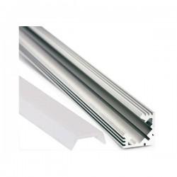 Perfil en Esquina a 45º Aluminio Plano Anchura 19x19 mm  para Tiras de Led. Longitud 1 m. Translúcido