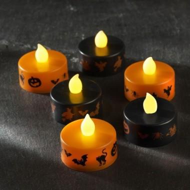 Pack de 6 Velas LED parpadeantes Halloween en color Negro y Naranja con pilas incluidas