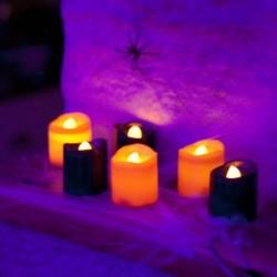 Pack de 6 Velas LED Lisas parpadeantes de Halloween en color Negro y Naranja con pilas incluidas