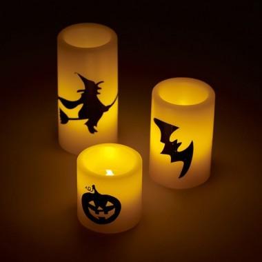 Conjunto de 3 Velas de cera LED Artesanas de Halloween con figuras fantasmagoricas