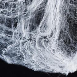 Telaraña Decoracion Halloween extensible 2m. incluye 2 arañas plastico. Color blanco