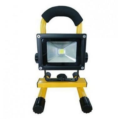 Proyector LED 10W Recargable, Foco Pórtatil con Batería Litio 7.4V. 4400mA Luz Fría 6000ºK, impermeable IP65