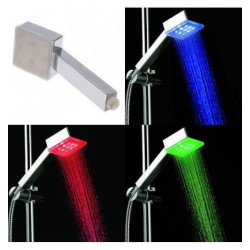 Ducha con Luz LED Mango Alcachofa Cuadrada Luminosa Cambia de color con la Temperatura, Sin Batería ni Pilas