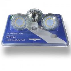 Blister 3 Dicroicas LED 4w Cristal 320 Lumenes, Luz Natural 4500ºK, Casquillo GU10 (220V) Amplitud Luz 120ºSMD5630 Epistar