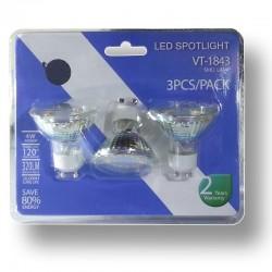 Pack 3 Bombillas LED Dicroicas 4w Cristal, 320 Lumens, Luz Calida, 120º Casquillo GU10 (220V) SMD5630 Epistar
