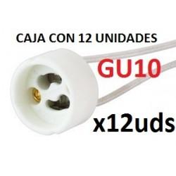 Caja 12 unidades Casquillos + Regleta Conector GU10 Ceramico Portalamparas para halogenos led Alta resistencia Termica