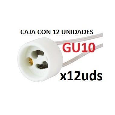 CAJA 12 unidades Casquillos Cerámicos  GU10 + Regleta Conexión