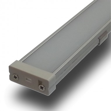 "Perfil en ""U"" Aluminio Plano Anchura 27 mm  para Tiras de Led. Longitud 1 m. Translúcido"
