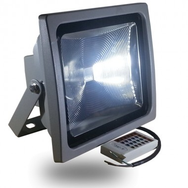 Foco LED 50w serie PREMIUM RGB 3000 Lm con control remoto RF radio frecuencia, impermeable IP65