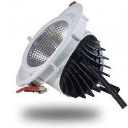 Downlight Led COB CREE 25W Foco Profesional Angulo Ajustable Foco Redondo Aluminio Blanco, Luz Dia 5000K Empotrable, Orientable
