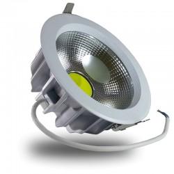 Downlight Led COB 30W 6000K Foco Redondo Aluminio Blanco, Luz Fria, Empotrable