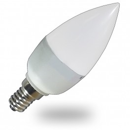 Bombilla LED Vela 6w Luz Calida +450 Lumens, casquillo fino E14, Led Epistar SMD5630, Cristal Acido