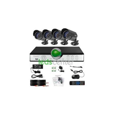 Equipo Seguridad Video Vigilancia 4 Canales Cámaras IP65 Uso exterior Noche y Día