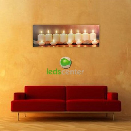 Cuadro 30x90cm con 13 luces LED Lienzo en Tela de Lino con dibujo de velas encendidas