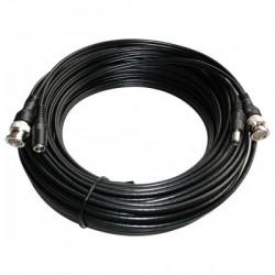 Cable coaxial 10mts. BNC y alimentación alargador para señales de vídeo y alimentación. Cable RG59 + DC.