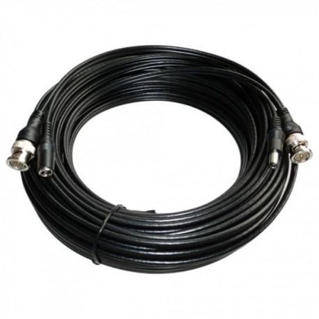Cable coaxial BNC y alimentación 10mts. alargador para señales de vídeo y alimentación. Cable RG59 + DC.
