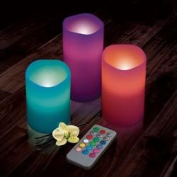 Lote de 3 Velas LED de Cera RGB Multicolor incluye mando, Pack Velas Tamaños 10cm, 12cm y 15cm