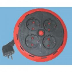 Enrollacable Electrico SCHUKO 4 Tomas. 5mts con Protector de Sobrecarga