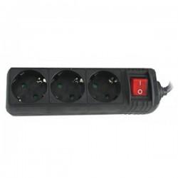 Regleta Electrica 3 Tomas Interruptor 1,5m NEGRA