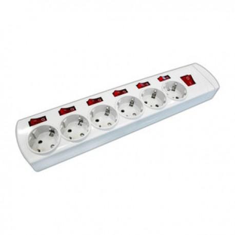 Regleta Electrica 6 Tomas 6 Interruptores 1,5mts