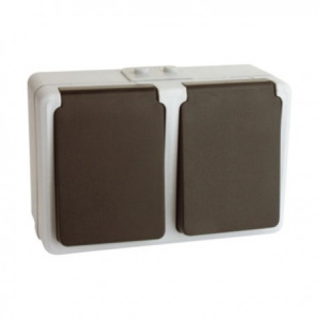 Base Enchufe Schuko DOBLE Superficie con T/T+tapa
