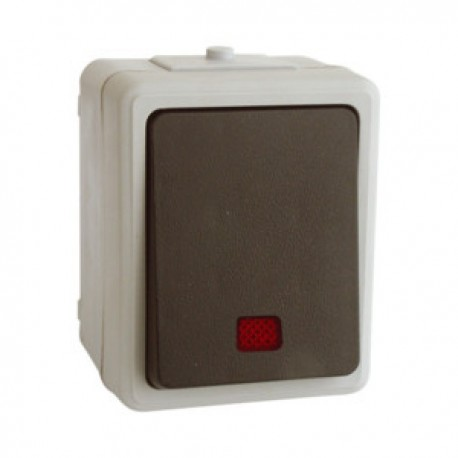 Interruptor RED Superficie Estanco con LUZ 10A