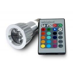 Bombilla RGB Led E27 3W por Control Remoto Infrarrojos