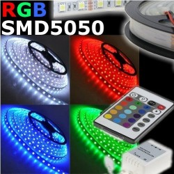 KIT Tira Led RGB Adhesiva Rollo 5m (300 Leds). IP20 NO Impermeable + Transformador 12V + Controlador y Mando