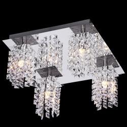 Lámpara LED 8W Techo Elegante Diseño 640Lm con Cristales Cromo Incluye 4 Bombillas Led G9 2W