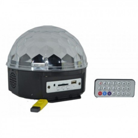 Esfera Cristal LED Reproductor Música Bola RGB Multicolor  por USB (Incluye PEN DRIVE)