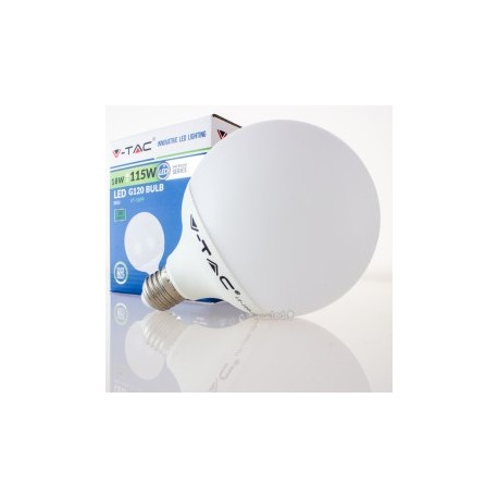 Bombilla LED V-TAC 18w E27 1800Lm Luz Fría 6000ºK Globo G120 200º Apertura Luz