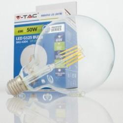 Bombilla LED V-TAC 6w E27 550Lm Luz Cálida 3000ºK Globo G125 300º Apertura Luz
