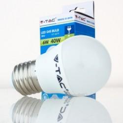 Bombilla LED V-TAC 6w E27 470Lm Luz Cálida 3000ºK Esférica G45 180º Apertura Luz