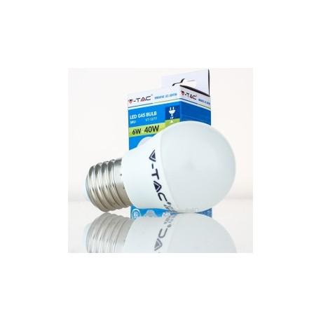 Bombilla LED V-TAC 6w E27 4700Lm Luz Cálida 3000ºK Esférica G45 180º Apertura Luz