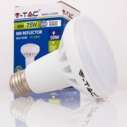 Bombilla LED V-TAC 10w E27 800Lm Luz Fría 6000ºK R80 Proyector 120º Apertura Luz
