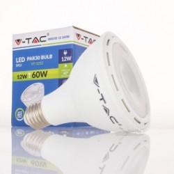 Bombilla LED V-TAC 12w E27 750Lm Luz Fría 6000ºK PAR30 Proyector 40º Apertura Luz