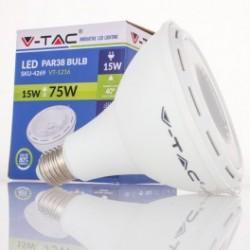 Bombilla LED V-TAC 15w E27 1000Lm Luz Natural 4500ºK PAR38 Proyector 40º Apertura Luz