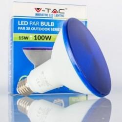 Bombilla LED V-TAC 15w E27 1200Lm Luz Azul PAR38 Proyector 30º Apertura Luz IP65
