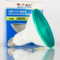 Bombilla LED V-TAC 15w E27 1200Lm Luz Verde PAR38 Proyector 30º Apertura Luz IP65 Jardín