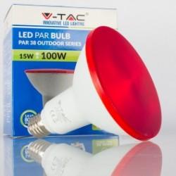 Bombilla LED V-TAC 15w E27 1200Lm Luz Roja PAR38 Proyector 30º Apertura Luz IP65 Jardín