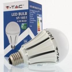Bombilla LED V-TAC 20w E27 1700Lm Luz Fría 6000ºK Esférica A80 150º Apertura Luz chip SAMSUNG