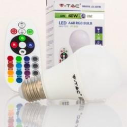 Bombilla LED V-TAC 6w E27 470Lm RGB+W Colores + Luz Fría con Mando Esférica A60 200º Apertura
