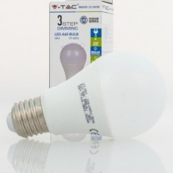 Bombilla LED V-TAC 9w E27 806Lm 3 Intensidades Regulable Luz Natural 4500ºK Esférica A60 200º Apertura Luz