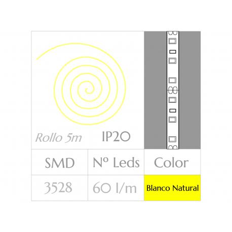 Tira LED  (5m)  Luz Natural 4500ºK  60Leds/m  24w  NO Impermeable