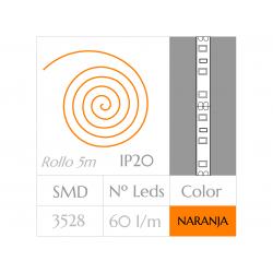 Tira LED  (5m)  Luz NARANJA 60Leds/m  24w  NO Impermeable