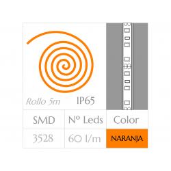 Tira LED  (5m)  Luz NARANJA 60Leds/m  24w  IMPERMEABLE