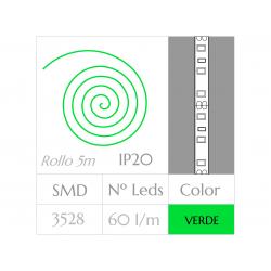 Tira LED  (5m) VERDE 60Leds/m  24w  NO Impermeable