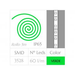 Tira LED  (5m) VERDE 60Leds/m  24w  IMPERMEABLE